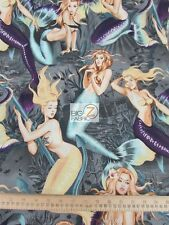 SEA SIRENS MERMAIDS GRAY BY ALEXANDER HENRY COTTON FABRIC BTY FH-2686 CLOTHING