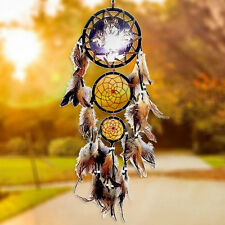 Brown Large Dream Catcher With feathers Wall Hanging Decoration Wolf Ornament