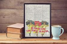Singing In The Rain Movie Recycled Upcycled Vintage Dictionary Page Art Print A4