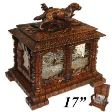 "RARE Antique Black Forest 17.5"" Tantalus, Cave a Liqueur, Animalier Hunting DOG"