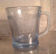 Vtg Fireking Fire King Sapphire Blue Philbe Mug Cup D handle Thick Flat Bottom