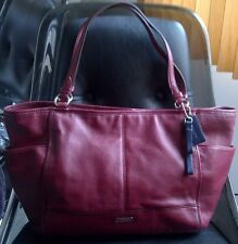 Auth Coach Park Leather Carrie Large Tote Bag Purse F29898 Maroon $378 - RARE