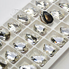 24pc Glass Pear 4320 Clear 18x13mm Crystal Foiled Sew On Rhinestone Silver Plate