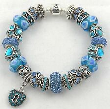 PANDORA BARREL Bracelet with BLUE HEART themed European Charms & Murano Beads