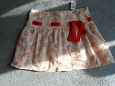 Wet Seal Red/Beige Floral  Mini Skirt - Size Medium - NWT