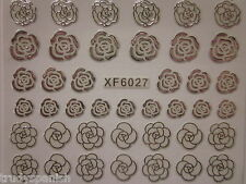 3D Nail Art Stickers Decals Vintage Silver Metallic Roses Flowers Gel Polish