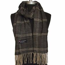 New 100% Cashmere Scarf Black/Beige Twill Check Plaid Wool Soft Unisex (#G01)
