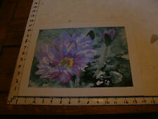 Vintage Watercolor art Marge O'Connell: painting of flower, w matting, 2004
