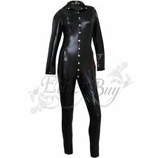 New Womens Black Wet Look Faux Leather Dress Cat Suit Jumpsuit Halloween Costume