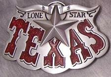 Pewter Belt Buckle Lone Star State of Texas red NEW