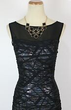 Jovani $550 Ruched Sheer Black Dress Mermaid Sleeveless Prom Formal Size 4 Long