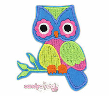 Cute Colourful OWL Kawaii Embroidered Iron / Sew-On Patch Badge Kitsch DIY Craft