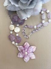"18.5"" Lavender Carved MOP 3D Flower & Amethyst Sterling Silver Pendant Necklace"