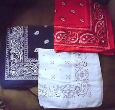 Lot of 3 Vintage & Modern Bandanas Light & Dark Blue, Red Paisley VGC