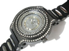 Iced Out Bling Bling Big Case Rubber Band Men's Watch Black Item 2339