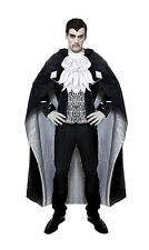 MENS DRACULA COSTUME VAMPIRE FANCY DRESS HALLOWEEN OUTFIT & LONG BLACK CAPE NEW