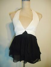 NWT Zara Basic Black/Off White Halter Tiered Chiffon Blouse Top   M