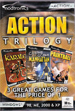 ACTION TRILOGY PC CD ROM inc' 3D KARATE/CRIME SCENE MANHATTAN/PAINTBALL HEROE