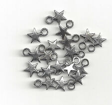 12 Silver Small Star Charms, Pendant Jewelry Finding