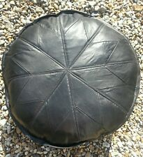 Real Genuine Leather Pouffe Footstool. Soft Black