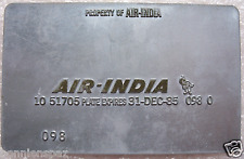 Vintage Air India Metal Ticket Validation Plate, Travel, Airline Collectible