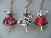 Gisela Graham Vintage Fairy Christmas Decoration With Parcel Red & Green 12cm