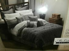 NEW MCLELAND DESIGN 30 PIECE CHARCOAL COMFORTER SET SIZE KING BED IN A B