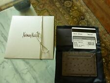$410 PRADA Men's Full-Quill OSTRICH Exotic Gray Card Case Wallet Italy - NEW!