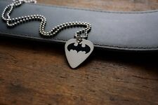 Hand Made Etched Nickel Silver Guitar Pick Necklace - Batman