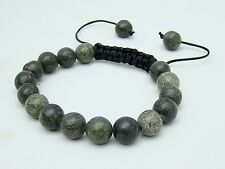 Russian Serpentine Men's Shamballa bracelet all 10mm  round NATURAL stone beads