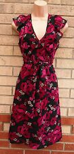 H&M BLACK PINK CHIFFON FLORAL V NECK FRILL SKATER FLIPPY BELTED RARE DRESS 12 M