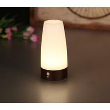 Wireless Auto PIR Motion Sensor LED Night Light Wood Base Table Lamp Round