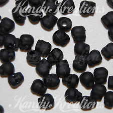 50 Black Skull matte pony beads for paracord kandi Craft hair jewelry Flat Rave