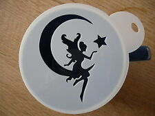 Laser cut fairy on moon design coffee and craft stencil