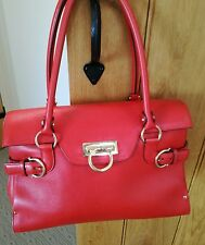 Beautiful Cherry Red Salvatore Ferragamo Tote Bag Leather Gancini Gorgeous!!!