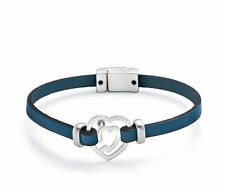 Dark Blue Leather with Mini Silver Heart Diamante Charm Bracelet Magnetic