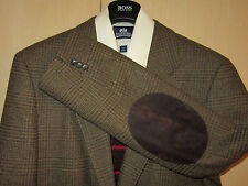 44L Banana Republic Wool Glen Plaid Leather Elbows Brown Blazer + Tie