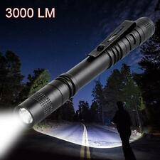 CREE Q5 LED Tactical Flashlight 3000 Lm Bright Torch Lamp Pen Light With Clip SS