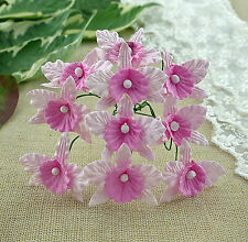 5 x ORCHIDS - BABY PINK & PINK  Mulberry Paper Flowers for Cardmaking and Crafts
