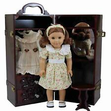"""FOR 18"""" AMERICAN GIRL DOLL Clothes Mahogany Trunk & Vanity FACTORY SECOND"""