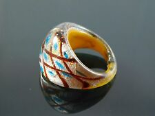 Murano Glass Silver Foiled Lampwork Handmade Multicolor Ring US 7.25""