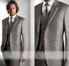 Hot Grey Groom Tuxedos Gentle Man Groomsmen Wedding Suit (Jacket+Pants+Tie+Vest)