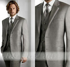 Hot Grey Groom Tuxedos Gentle Man Groomsmen Wedding Suit (Jacket+Pants+Tie+Vest)