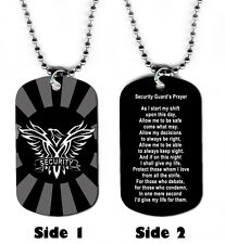 DOG TAG NECKLACE - Security Guard's Prayer Corrections God Jesus Amen Law Safety
