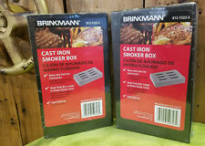 Lot of 2 Brinkmann Cast Iron Wood Chips BBQ Smoker Box with Lid!  FREE SHIPPING!