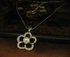 Pearl and Crystal Camellia Flower Pendant Necklace