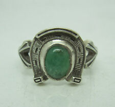 RUSSIAN 84 SILVER RING  with EMERALD