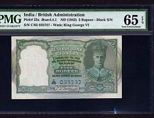 India, 5 Rupees 1943, P-23a, PMG Gem Unc 65 EPQ * Rare Condition *