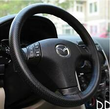 Black DIY Imitation Leather Steering Wheel Cover & Needle Thread 38cm Universal