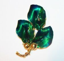 Vtg Large Green Enamel Holly Berry Leaf Pin Brooch Rose Flower Bud Bead Xmas